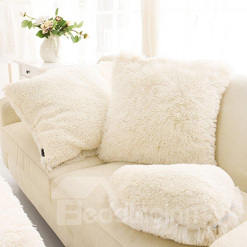 creamy white square one piece decorative fluffy throw pillows White Fluffy Throw Pillows