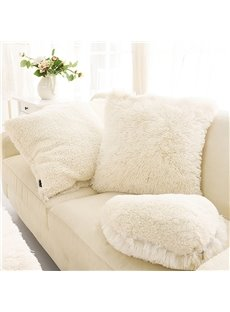 Creamy White Square Decorative Fluffy Throw Pillows