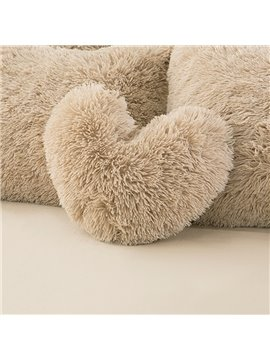 Camel Heart Shape Decorative Fluffy Throw Pillows