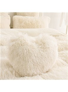 Creamy White Heart Shape Decorative Fluffy Throw Pillows