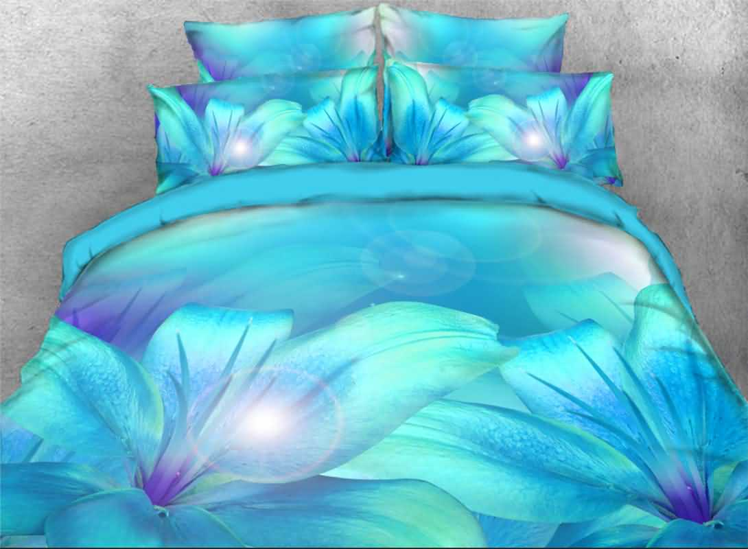 Turquoise Lily Printed 4-Piece 3D Bedding Sets/Duvet Covers