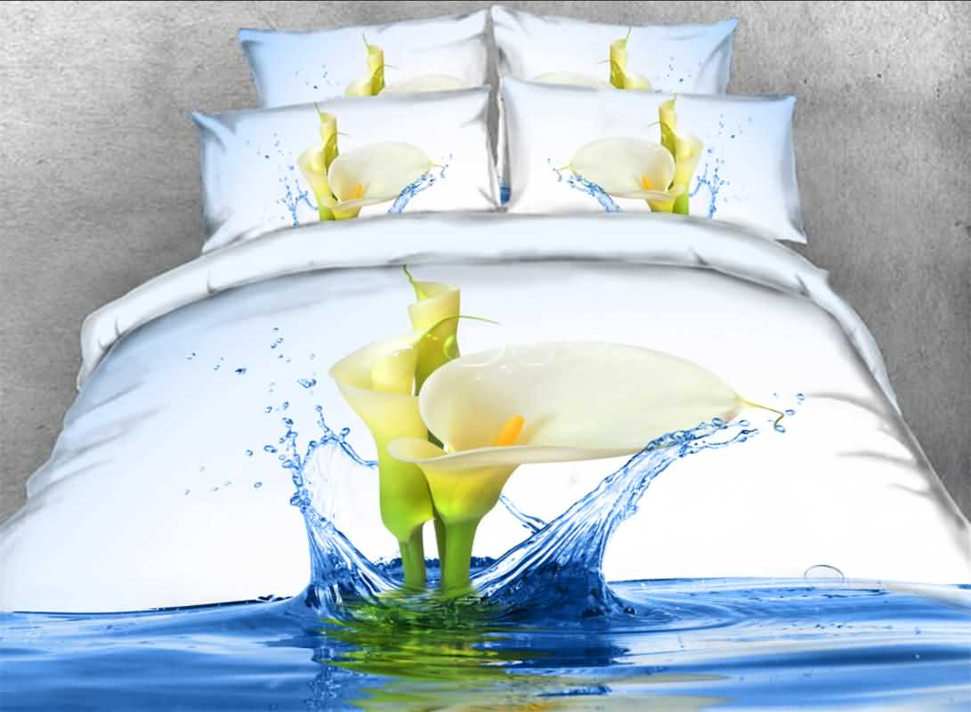 Calla Lily with Splashing Water Printed 4-Piece 3D Bedding Sets/Duvet Covers