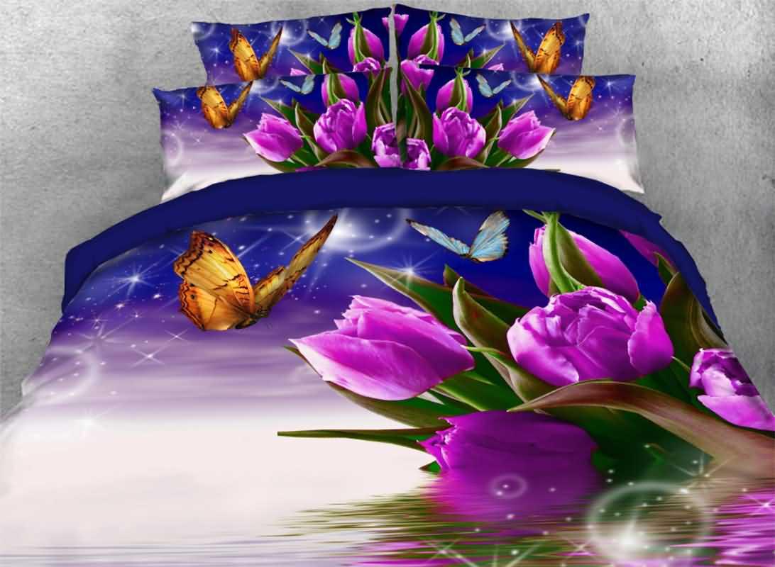 Purple Tulips with Fluttering Butterflies Bubbles 4-Piece 3D Bedding Sets/Duvet Covers