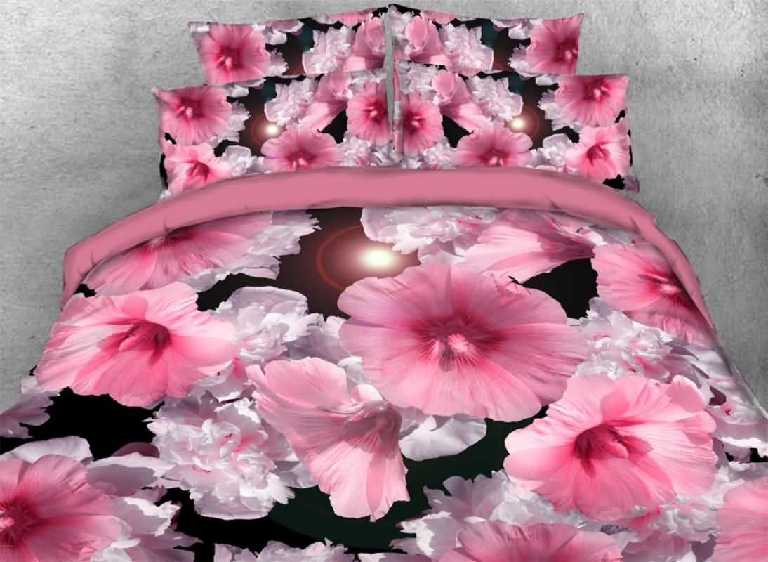 Vivilinen Pink Hibiscus Printed 4-Piece 3D Bedding Sets/Duvet Covers