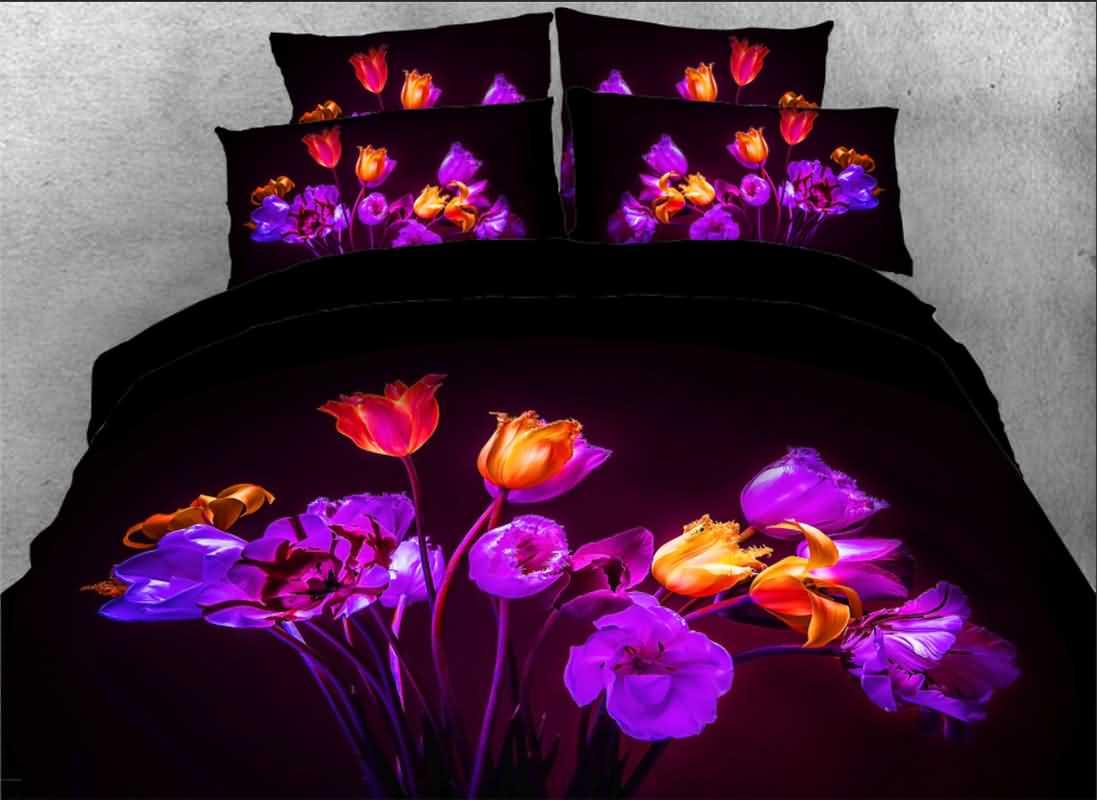 Vivilinen Blown Tulips Printed 4-Piece 3D Bedding Sets/Duvet Covers