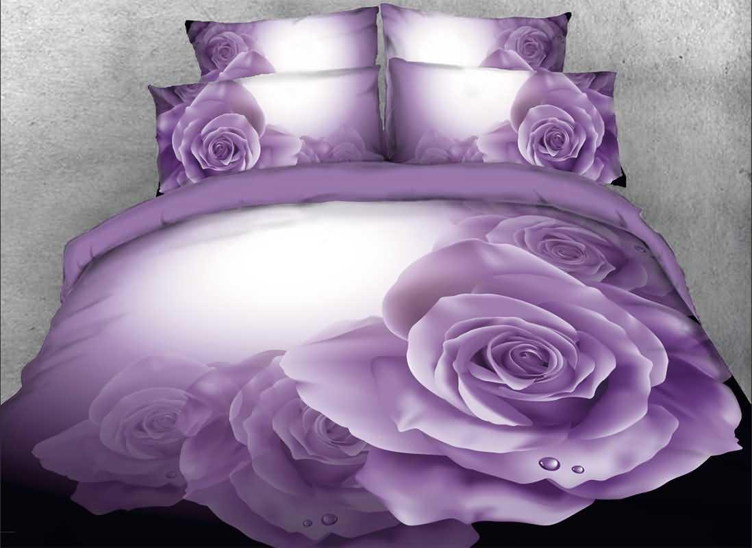 Onlwe 3D Dewy Purple Roses Printed 4-Piece Bedding Sets/Duvet Covers beddinginn