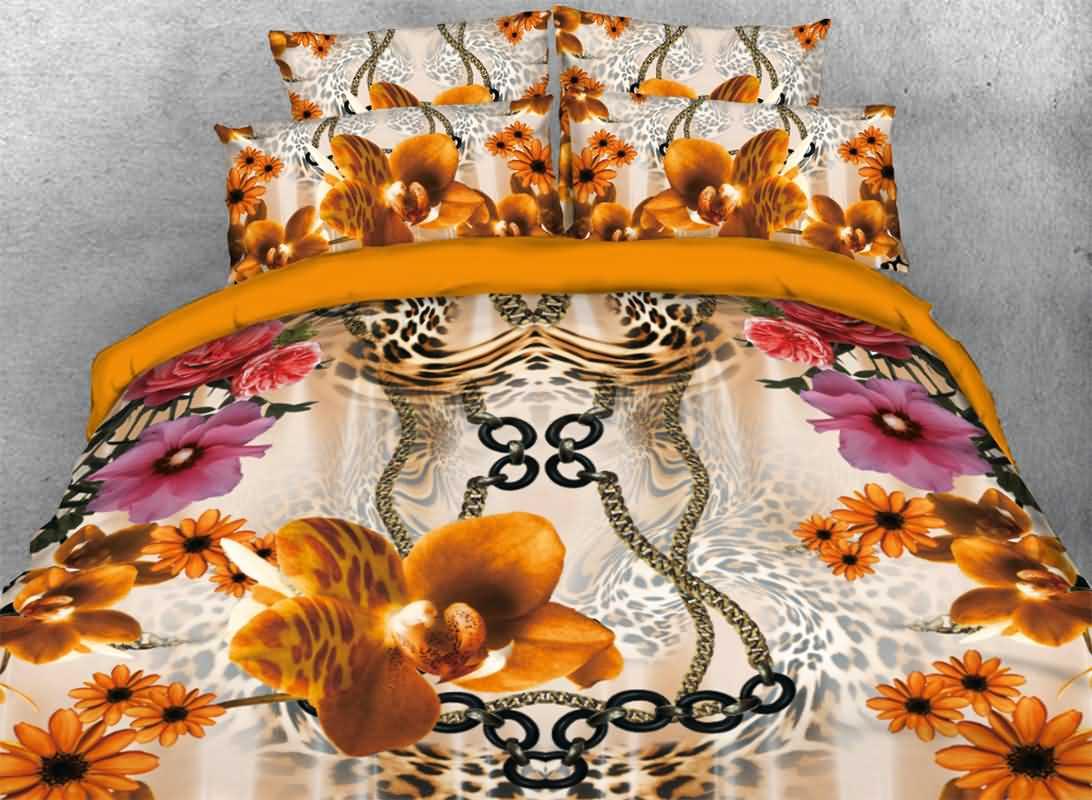 Vivilinen 3D Peony and Leopard Pattern Luxury Style 4-Piece Bedding Sets/Duvet Covers