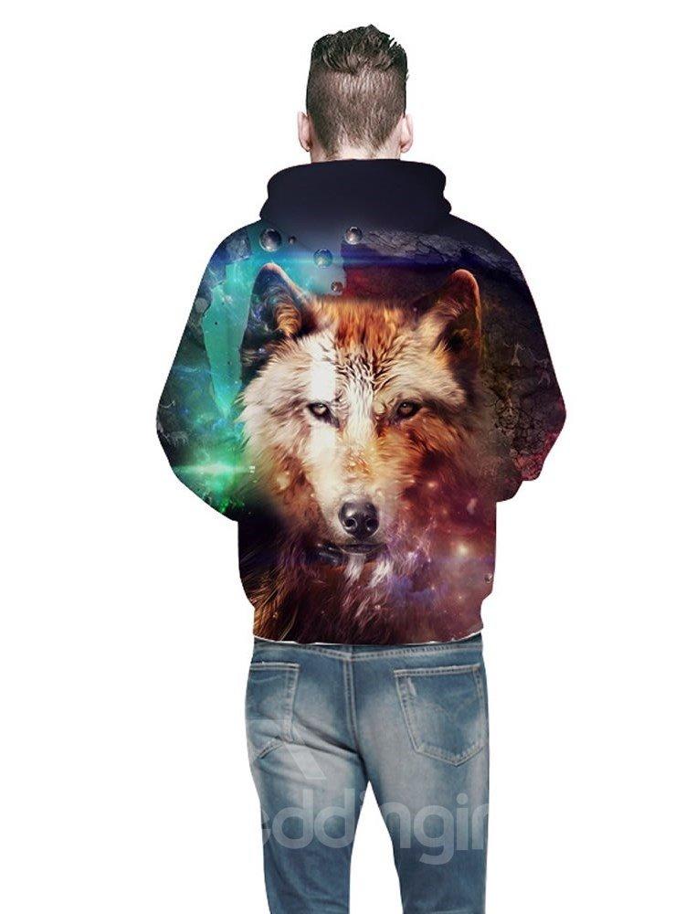 3D Galaxy Wolf Pattern Men Sweater Long Sleeve Cool Hoodies
