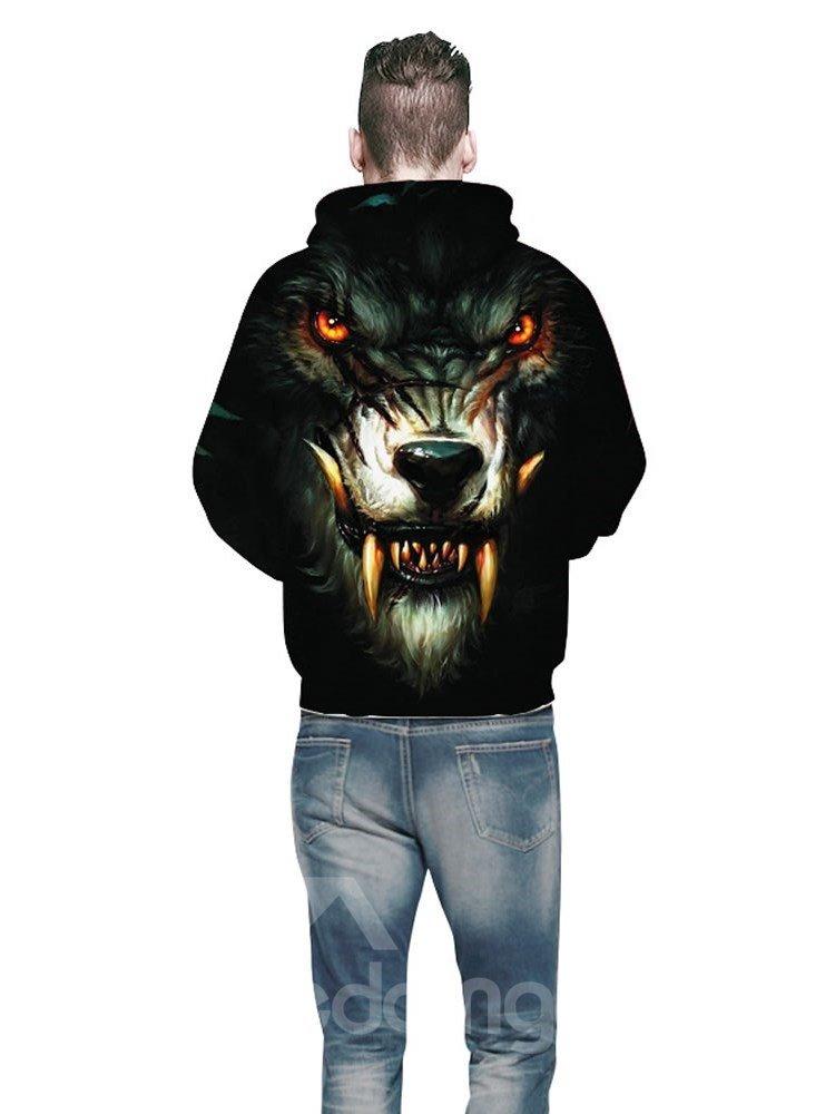 Long Sleeve Ferocious Wolf Face Digital Pattern 3D Painted Hoodie