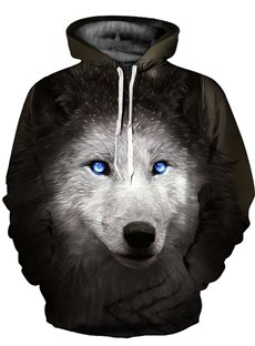 3D Wolf with Blue Eyes Pattern Long Sleeve Cool Hoodies