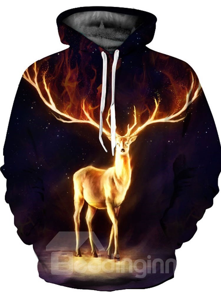 3D Golden Deer with Antlers Pattern Men Sweater Long Sleeve Cool Hoodies