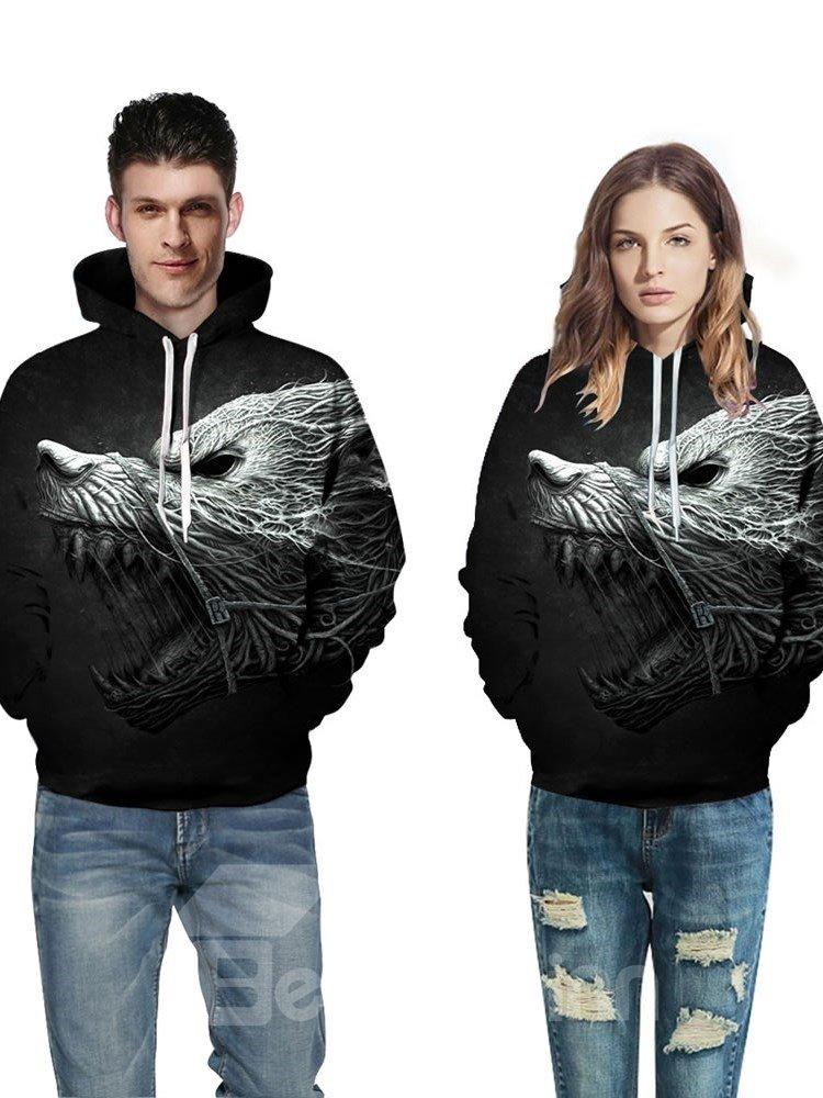 Horror Monster Roar 3D Pattern Men Sweater Long Sleeve Cool Hoodies
