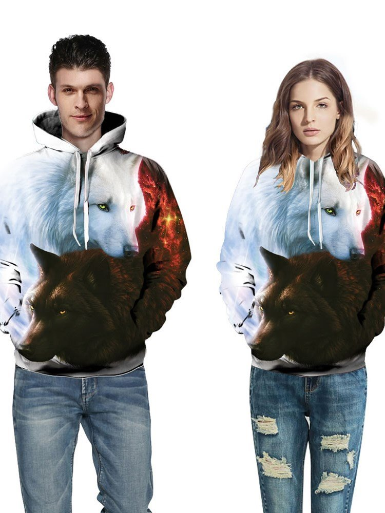 3D Black White Couple Wolfs Pattern Men Sweater Long Sleeve Cool Hoodies