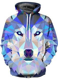 3D Geometric Rhombus Wolf Pattern Long Sleeve Cool Hoodies