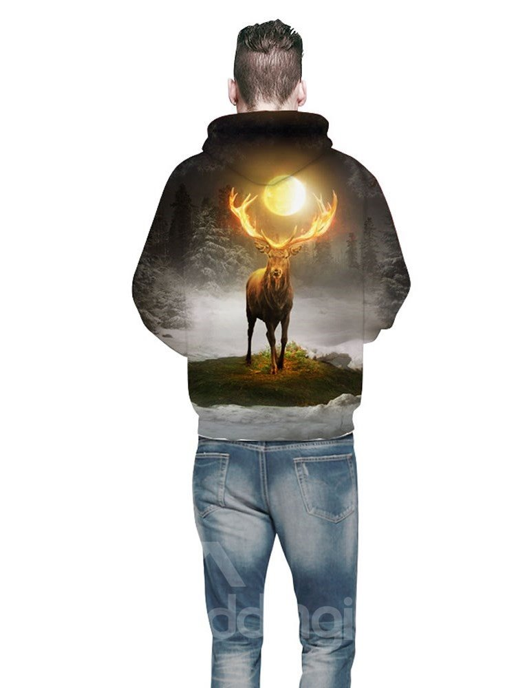3D Golden Ahtlers Deer Forest Pattern Men Sweater Long Sleeve Cool Hoodies