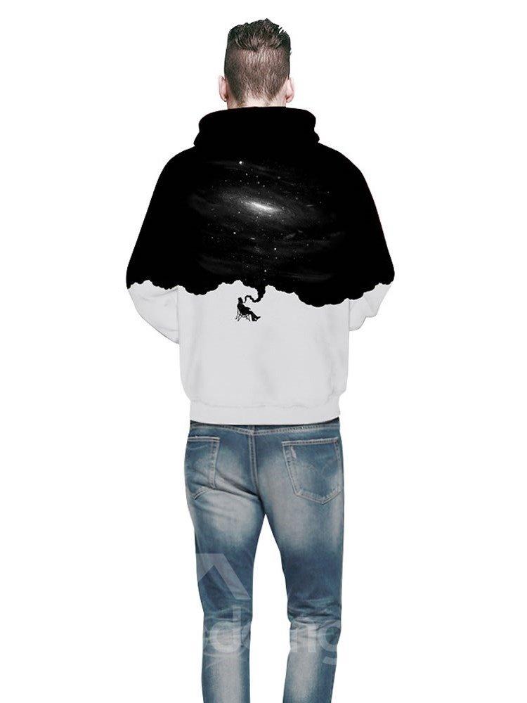 3D Man Smoking Black White Pattern Long Sleeve Cool Hoodies