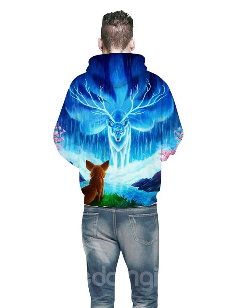 3D Myth Style Fox Blue Pattern Sweater Long Sleeve Cool Hoodies