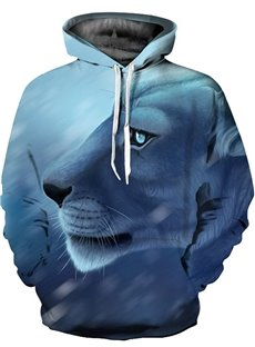 3D Calm Tiger Face Pattern Long Sleeve Cool Hoodies