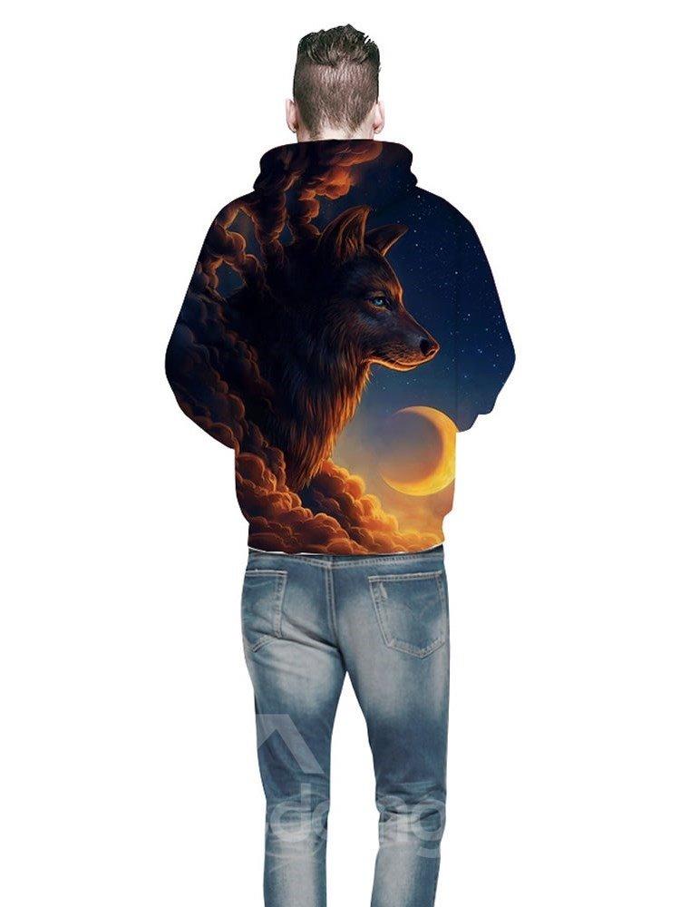 Popular Long Sleeve Wolf Cloud with Moon Pattern 3D Painted Hoodie