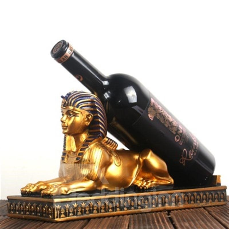Retro and Elegant Style Egypt The Sphinx of Pharaoh Design Resin Home Decorative Wine Rack