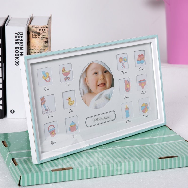 Simple and Classic Style Density Board Rectangle Creative Kids Photo Frame