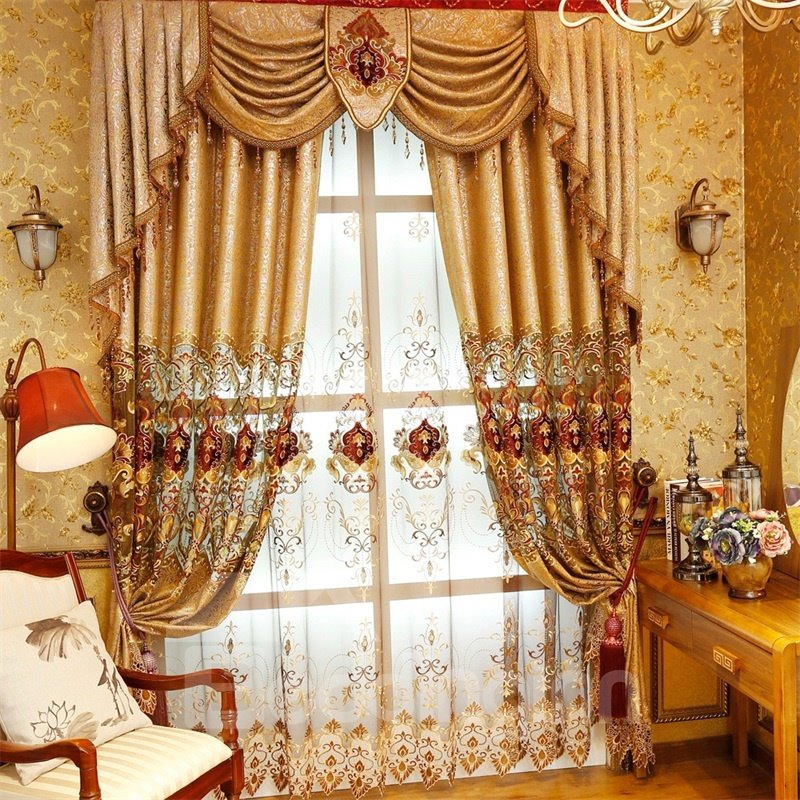 Noble and Elegant Soft Chenille Golden Custom Decorative Living Room Window Drape