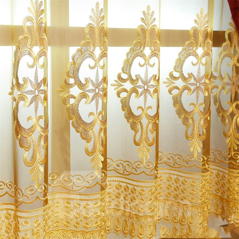 European and Noble Yellow with Embroidered Pattern 2 Panels Living Room Sheer Curtain