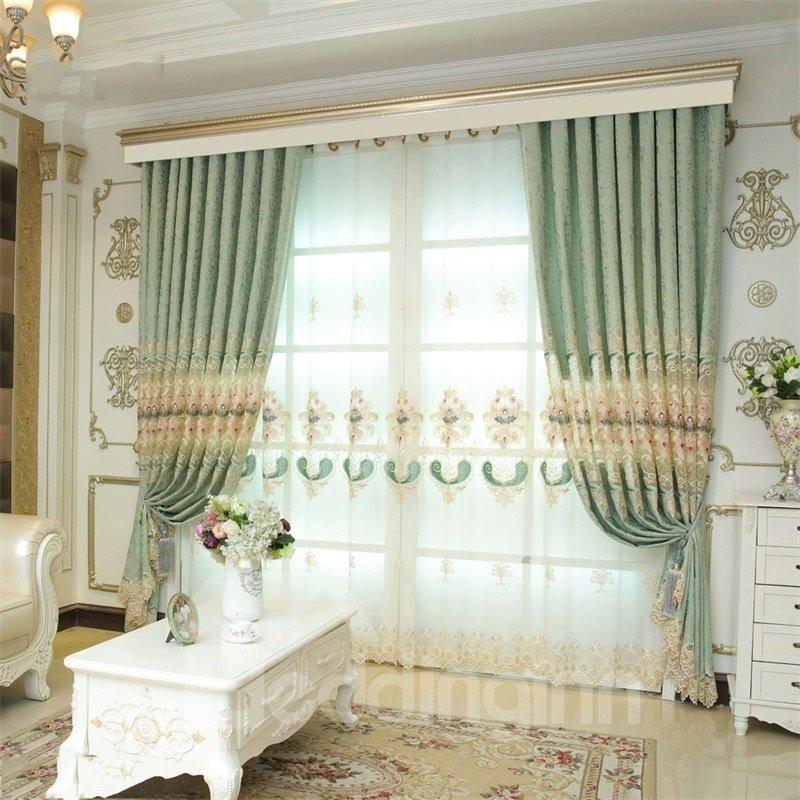 Noble and Elegant European Style Light Green 2 Panels Decorative Living Room Sheer Curtain