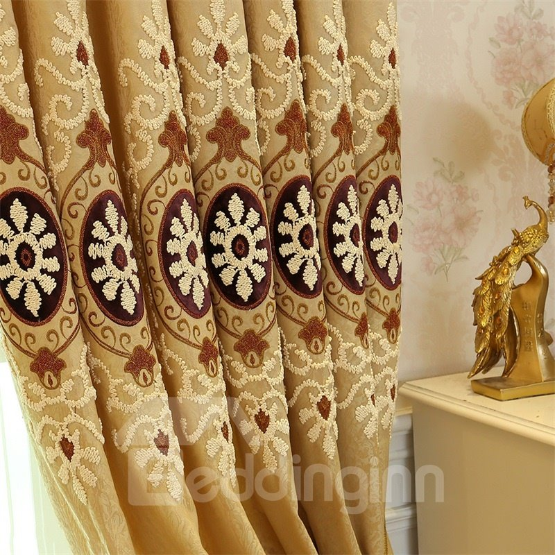 Classical Embroidered Damask Pattern Blackout Custom Grommet Top Curtain
