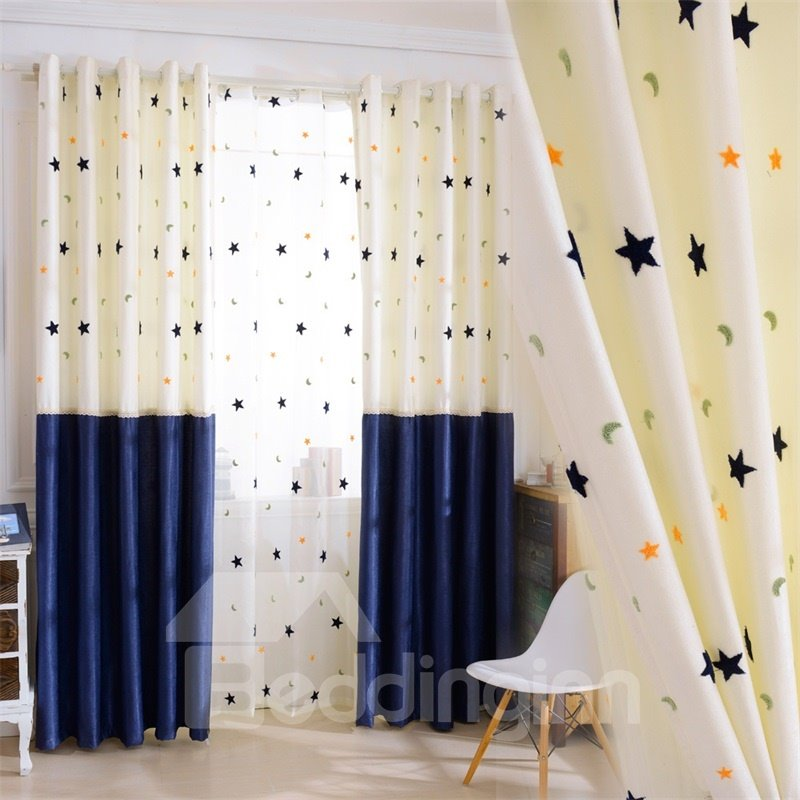 Modern and Concise Beige and Blue Stars Printed 2 Panels Living Room Curtain
