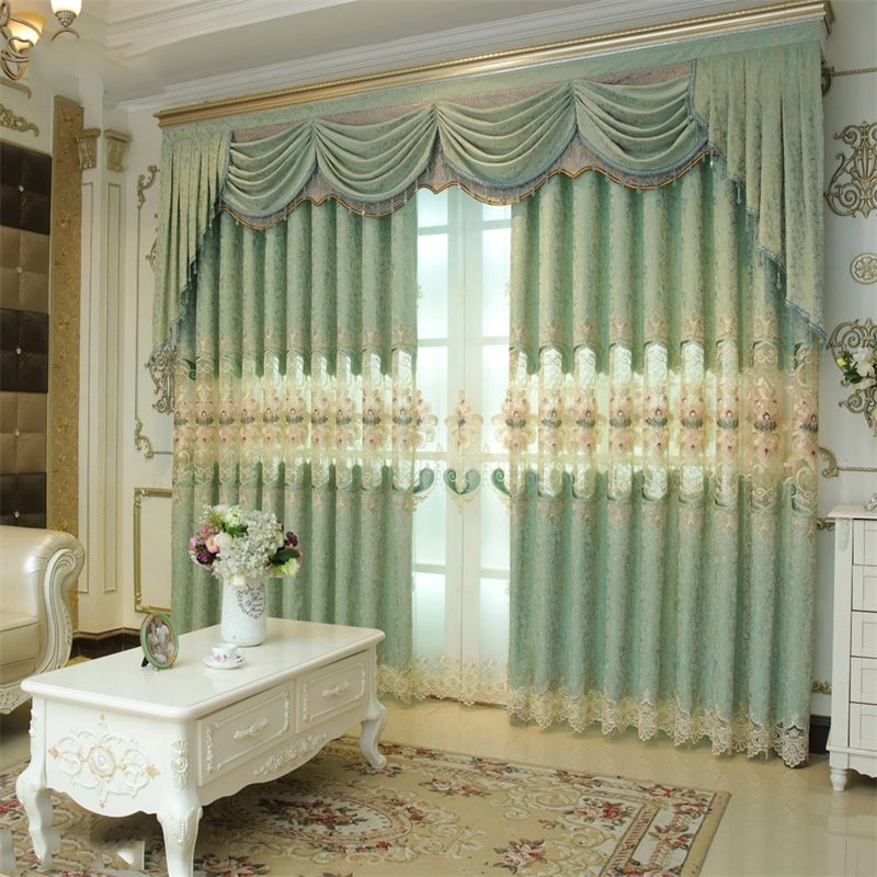 Noble and elegant european style light green 2 panels - European style curtains for living room ...