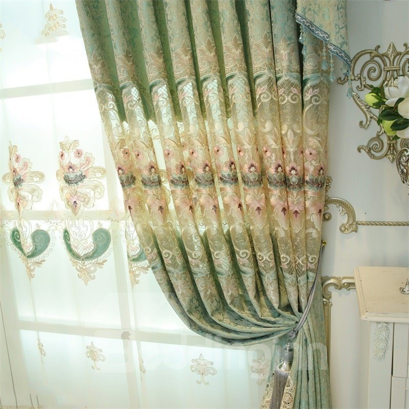 Noble and Elegant European Style Light Green 2 Panels Decorative Living Room Curtain