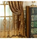 Elegant and Concise European Style 2 Panels Embroidered Flowers Sheer Curtain