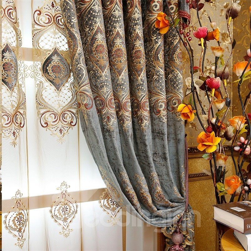Noble and Classical Thick Chenille Blackout 2 Panels Living Room Sheer Curtain