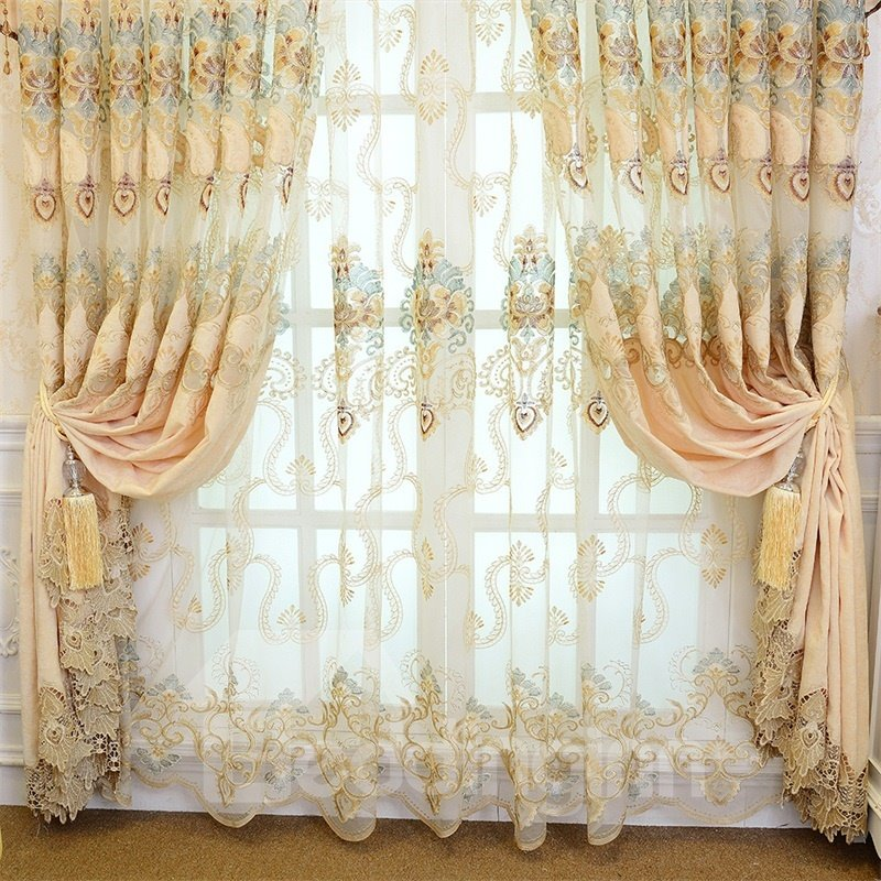 Luxury and Upmarket Embroidered Flowers Beige Custom Living Room Sheer Curtain