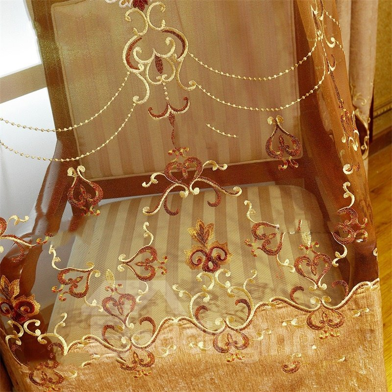 Noble and Elegant Embroidered Flowers 2 Panels Custom Living Room Sheer Curtain