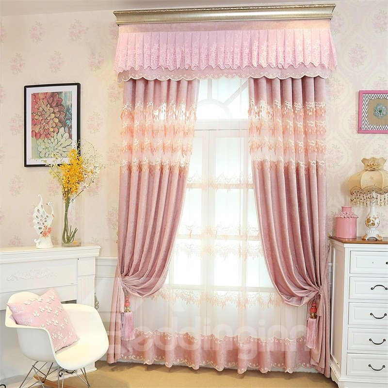 European Style Romantic Pink Custom Chenille Living Room Sheer Curtain