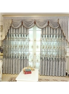 European Style Light Gray Embroidered Flowers 2 Panels Custom Living Room Curtain
