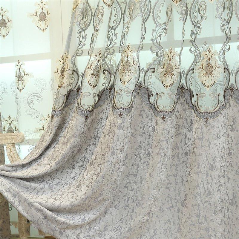 European Style Light Gray Embroidered Flowers 2 Panels Custom Living RoomCurtain