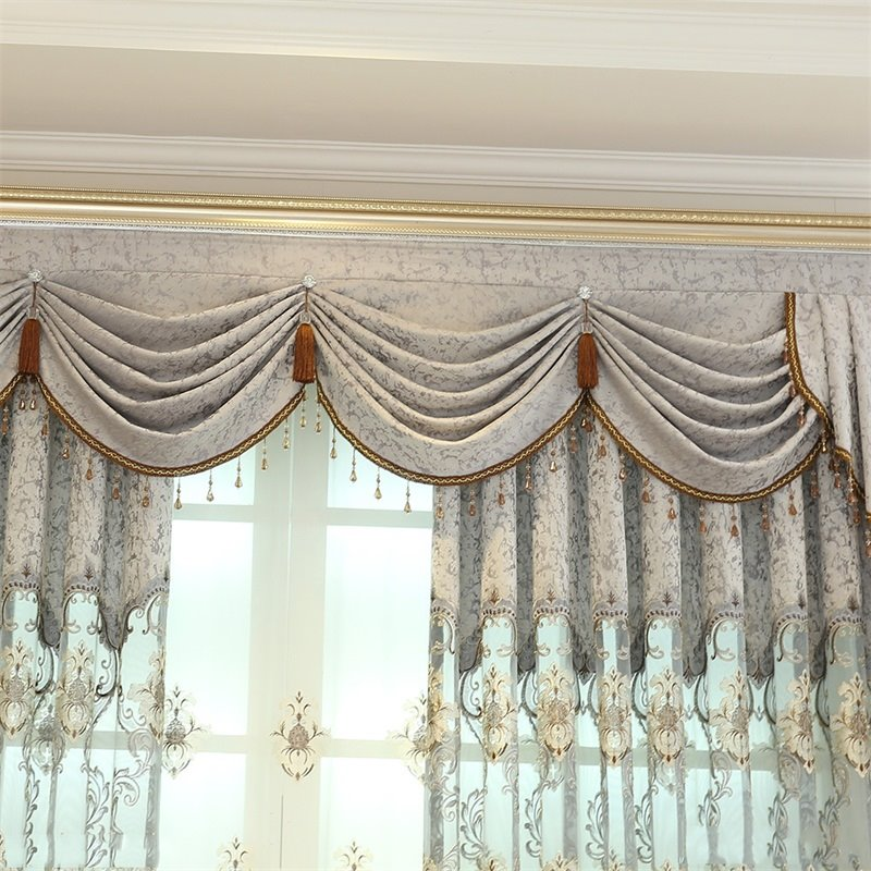 European Style Light Gray Embroidered Flowers 2 Panels Custom Living Room Curtain