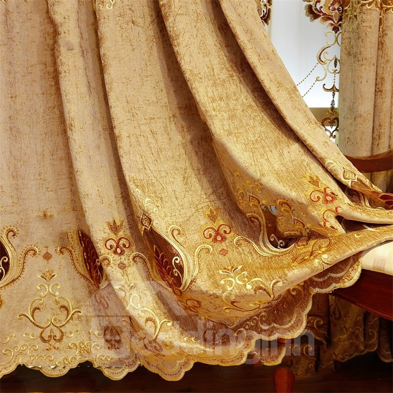 Noble and Elegant Embroidered Flowers with Hollowed Designing 2 Panels Living Room Curtain