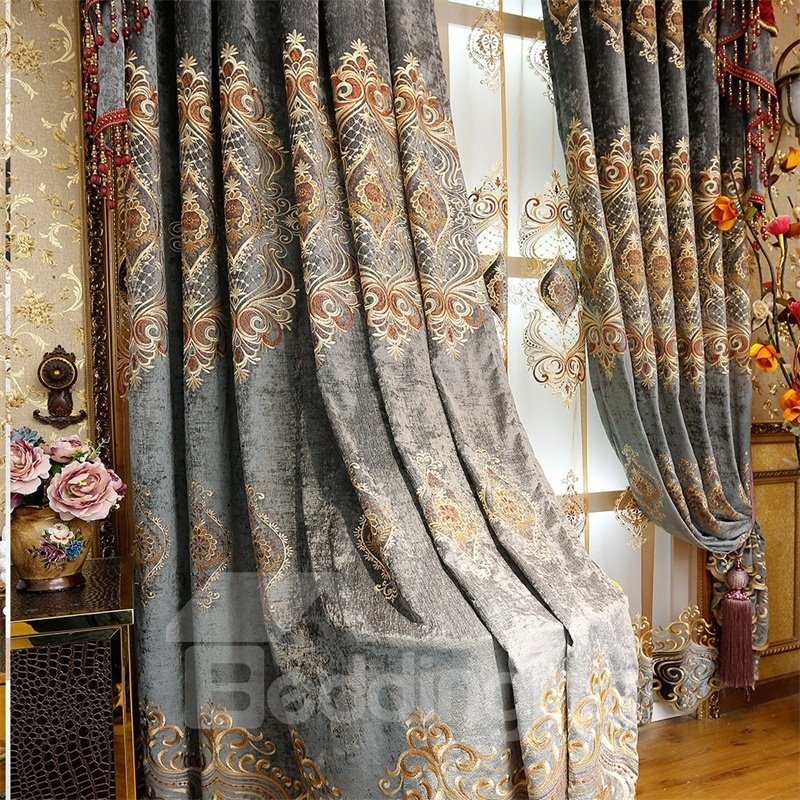 Noble and Classical Thick Chenille Blackout 2 Panels Living Room Grommet Top Curtain