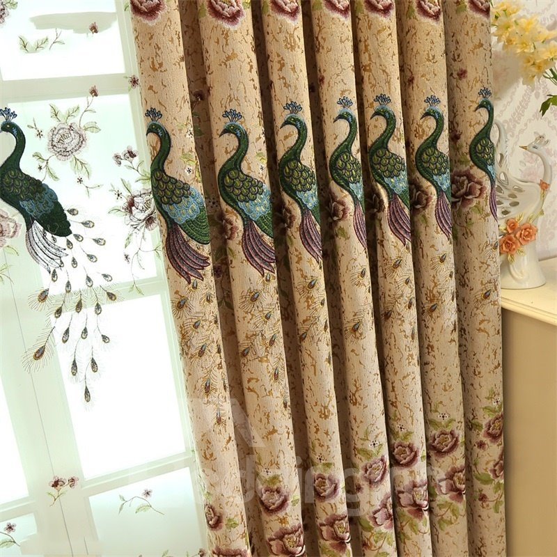 Elegant and Modern Embroidered Peacocks 2 Panels Living Room Grommet Top Curtain