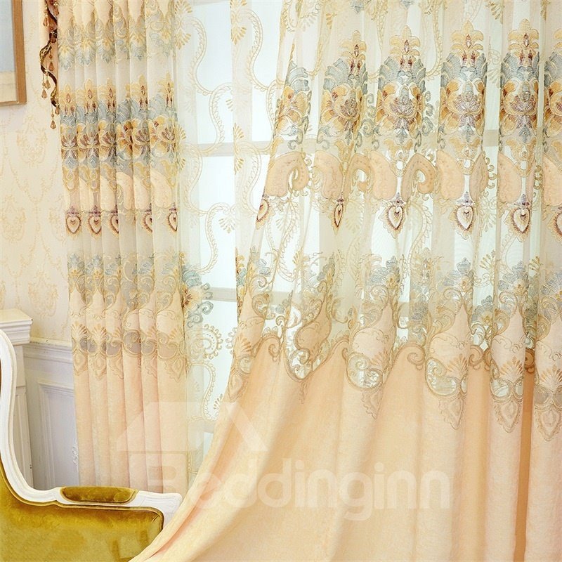 Luxury and Upmarket Embroidered Flowers Yellow Custom Living Room Curtain