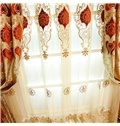 Noble Thick Chenille Embroidered Golden and Red Flowers Living Room Sheer Curtain