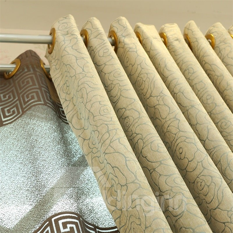 Concise Style Chenille 2 Panels Living Room and Bedroom Grommet Top Curtain