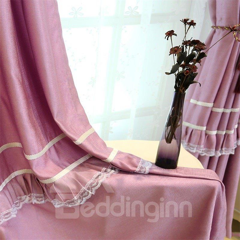 Romantic Purple with White Lace Princess Style 2 Panels Grommet Top Curtain