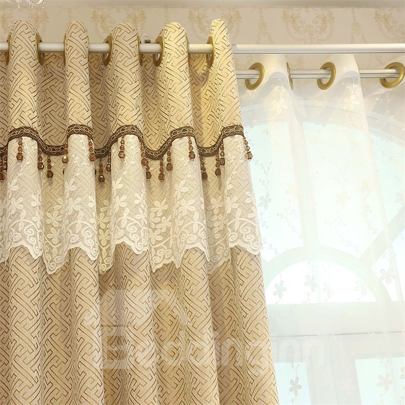 Concise Style Elegant and Delicate 2 Panels Decorative Custom Sheer Curtain