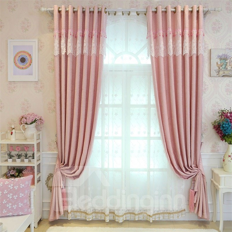 Concise Style Elegant and Romantic Delicate 2 Panels Decorative Custom Sheer Curtain