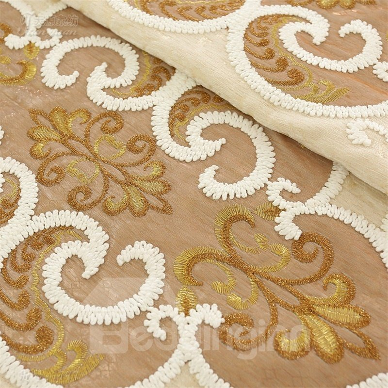Elegant Chenille Brown and Beige Embroidered Custom 2 Panels Living Room Curtain